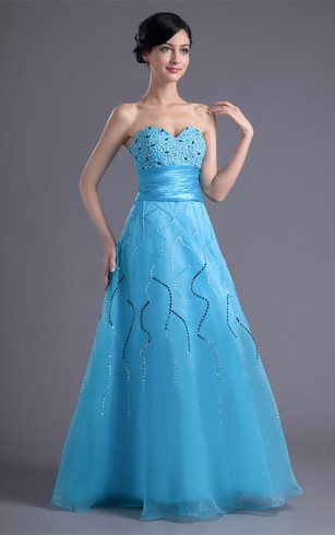 Elegant Sweetheart Beaded Maxi a Line Sleeveless Special Occasion Dresses