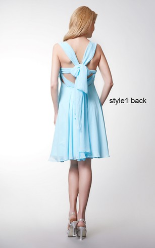Convertible Cap Sleeve Short Chiffon Dress With Pleats