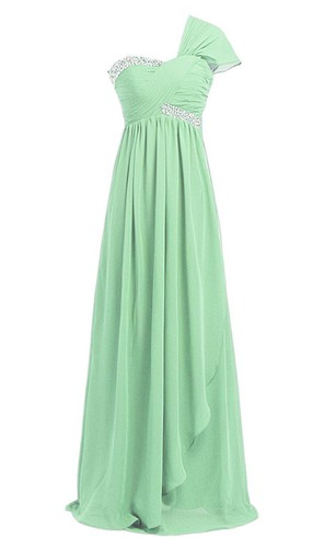 One-shoulder A-line Layered Sequined Chiffon Dress
