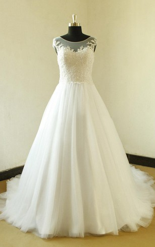 Cap Sleeve A-Line Tulle Dress With Lace Bodice and Illusion Back