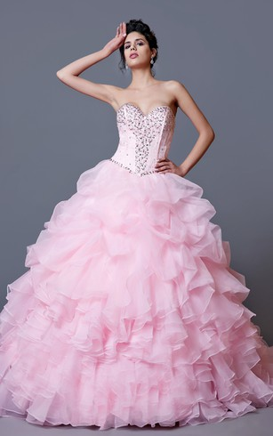 Glam Sweetheart Long Quinceanera Ball Gown wirh Pleats