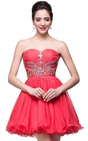 Lovely Watermelon Sweetheart Homeocming Dress 2016 Short With Crystals