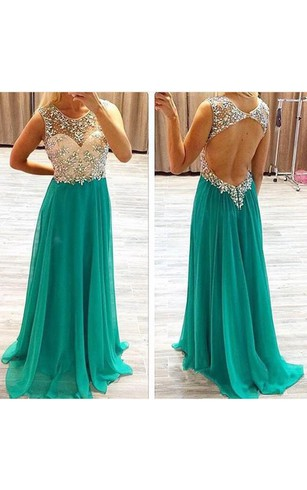 A-line Sleeveless Beading Chiffon Sweep Train Dresses