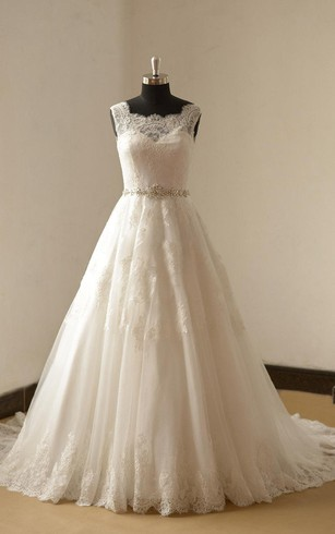 Lace A-Line Sleeveless Gown With Scalloped Bateau Neck and Beaded Waist