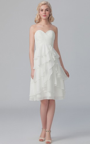 Side Draped Sweetheart Dress With Crisscross Bodice