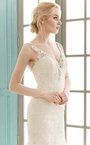 Strapped V-neck Appliques Floor-length Sheath Lace Dress With Crystal Detailing