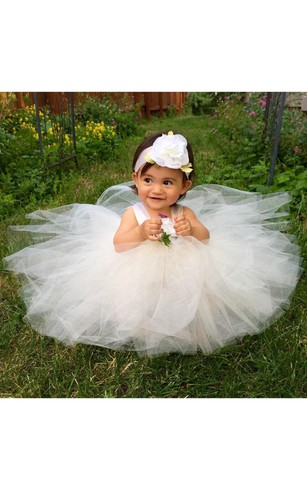 Flower Girl Empire Tulle Ball Gown With Flower