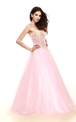 Pastel Strapless A-Line Dress With Appliques and Tulle Overlay