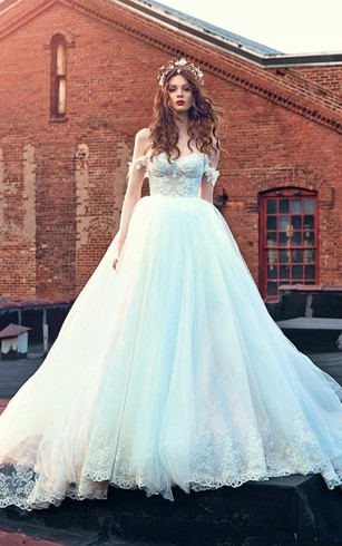 Ball Gown Short Off The Shoulder Sleeveless Bell Pleats Appliques Backless  Tulle Lace Dress ...