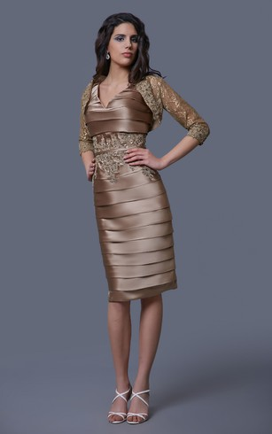 Elegant Pleated V-neck Formal Dress With Lace Jacket