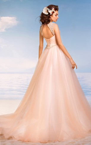 A-Line Floor-Length Straps Sleeveless Keyhole Tulle Dress With Beading And Criss Cross