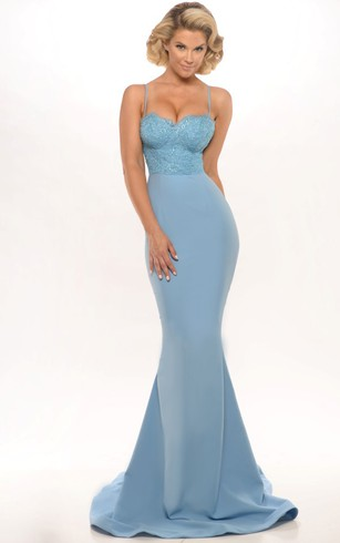 Light Shade Blue Color Prom Gowns, Blue Formal Dresses - Dorris Wedding