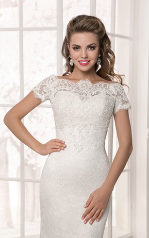 Floor Length Short Sleeve Lace Applique Sheath Dress