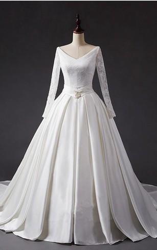 A Line Ball Gown Tea Length V Neck Long Sleeve Beading Jacket Chiffon