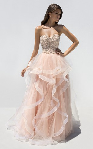 A-Line Floor-Length Sweetheart Sleeveless Tulle Ruffles Beading Backless Dress