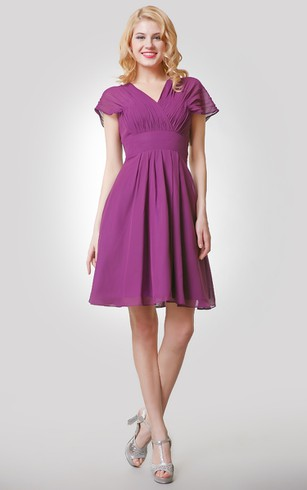 Short A Line Chiffon Empire Dress With Ruched V Neck