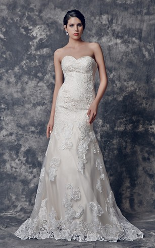Inspired Sweetheart Mermaid Lace Dress With V-back