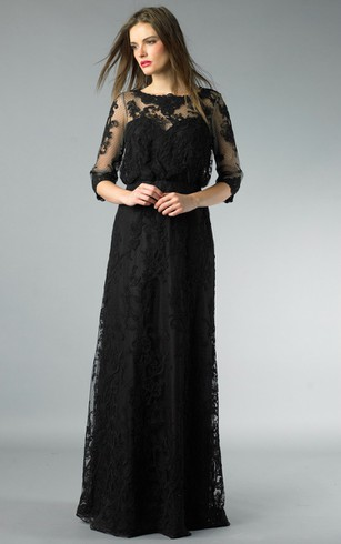 Sheath Floor-length High Neck Long Sleeve Lace Illusion Dress