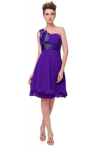 One Shoulder A Line Knee Length Dress With Empire Sash