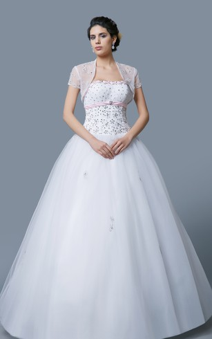 Classic Soft-ruched Ball Gown with Sequined Bodice