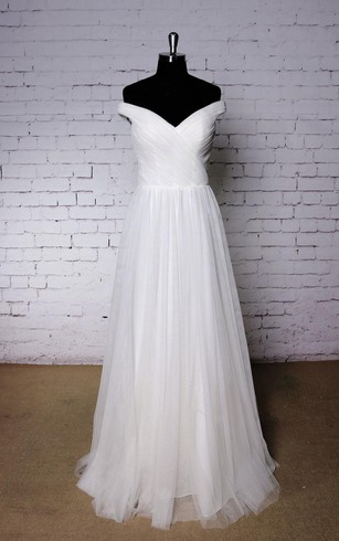 Off-The-Shoulder V-Neck A-Line Pleated Tulle Dress With Crisscross Bodice
