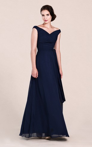 Off Shoulder A Line Chiffon Gown With V Back