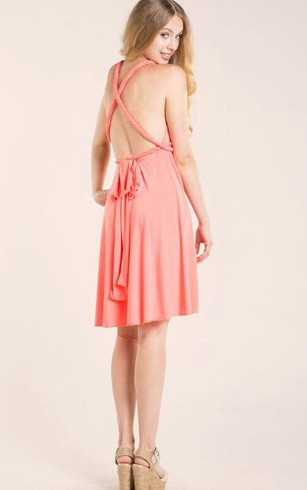 V Neck Empire Pleated A-line Knee Length Jersey Dress Criss Cross Back