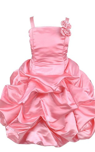 Pink flower girl dresses flower girl dresses shop by color sleeveless ruffled dress with floral strap mightylinksfo