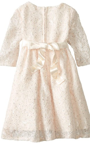 3-4 Sleeved A-line Lace Dress With Bow and Beadings