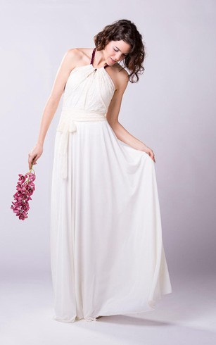 Halter Pleated A Line Chiffon Gown With Lace Bodice
