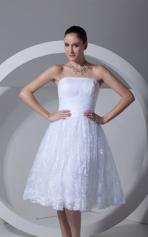 Romantic Satin Appliqued Sleeveless a Line Strapless Wedding Dresses