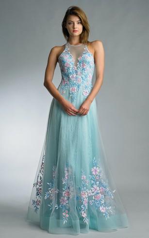 High Neckline Formal Dresses | Prom Dress With Halter Neck ...