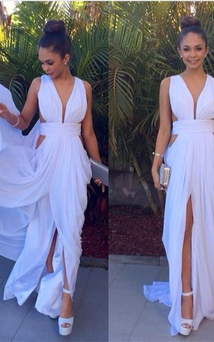 Sexy White Long Deep V-Neck Prom Dress 2016 Floor Length Front Split