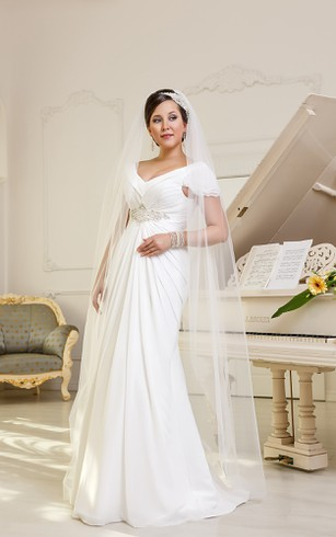 A-Line Floor-Length V-Neck Cap-Sleeve Empire Corset-Back Chiffon Dress With Beading And Ruching