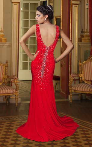 Sheath V Neck Jersey Long Dress With Rhinestones