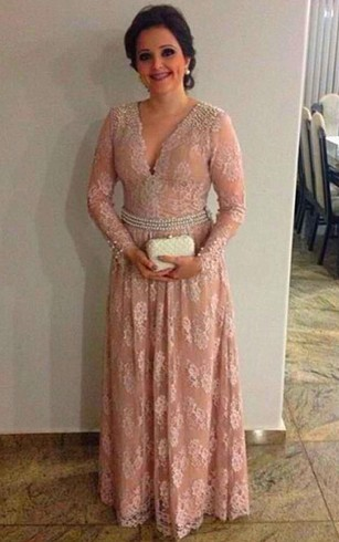 V Neck Long Sleeve A Line Lace Long Dress With Pearl Waist