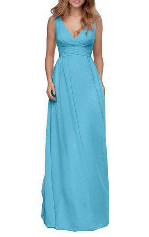 V-neck Ruched Low-v Back Long Bridesmaid Dress with Bow