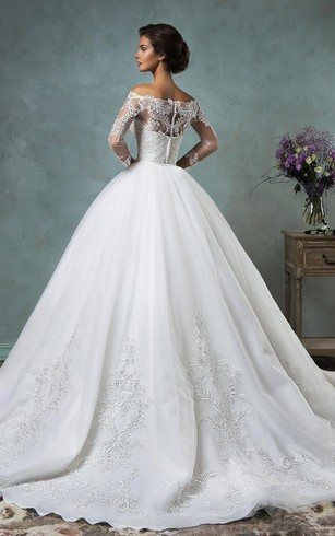 A Line Off The Shoulder Long Sleeve Court Train Tulle Lace Wedding Dress