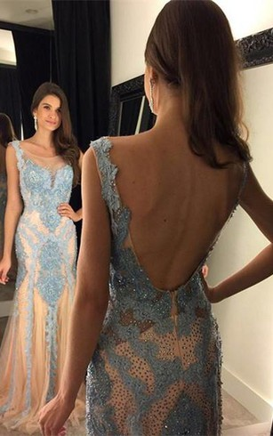 Glamorous Beadings Mermaid 2016 Prom Dress Open Back Sweep Train