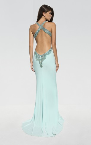 Sheath Floor-Length Straps Sleeveless Jersey Split Front Beading Backless Dress