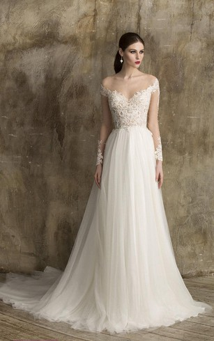 Superbe V Neck Lace And Tulle A Line Dress With Illusion Back And Lace Bodice ...