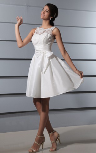 Deep V-Back Lace Short Dress With Sash and Bow