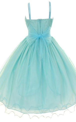 Sleeveless A-line Pleated Organza Dress With Spaghetti Straps