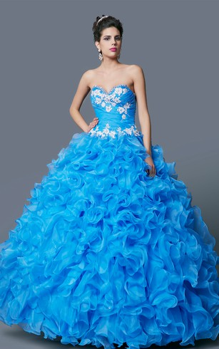 Flamboyant Embroidered Sweetheart Ruffled Tulle Quinceanera Ball Gown