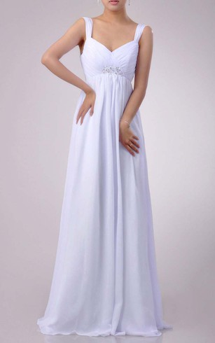 3e4e600ae81 ... Floor-length Sweetheart Empire Chiffon Dress With Beading