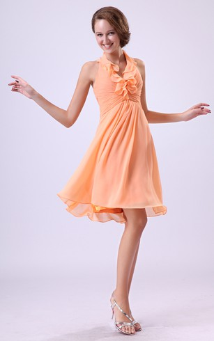 Chiffon Knee-Length Dress With Ruffled Neckline and Pleating
