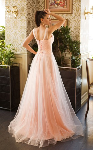A-Line Sweep V-Neck Sleeveless Tulle Beading Pleats Lace-Up Dress