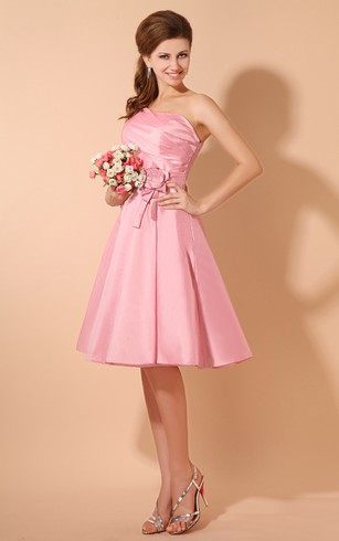 Taffeta Strapless Short Dress With Ruching Top and Flower