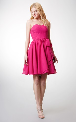 Dashing Strapless Sweetheart Top-Pleated Layered Chiffon Dress With Belt