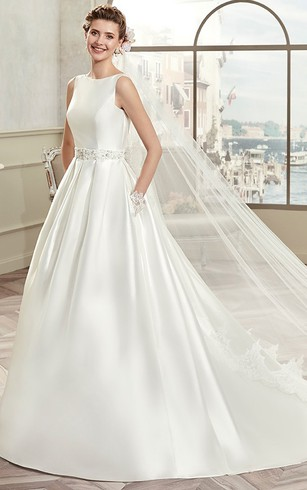 Boat Style Neck Bridal Dresses, Wedding Gown Beteau Neckline ...